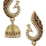 Voylla Artifictial Peacock Textured Yellow Gold Plated Pearl Alloy Jhumki Earring Price: Rs. 173