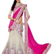 ZofeyFashion Embriodered Lehenga Saree Georgette, Net, Chiffon, Jacquard Sari
