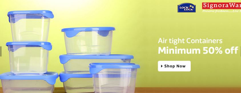 Flipkart Minimum 50% discounts on the airtight containers online India