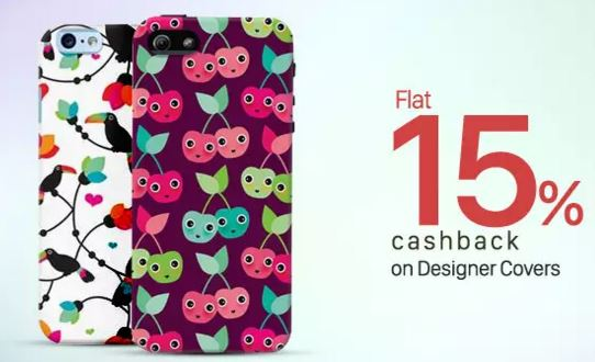 flat 15 percent cashback on designer covers from paytm shopping