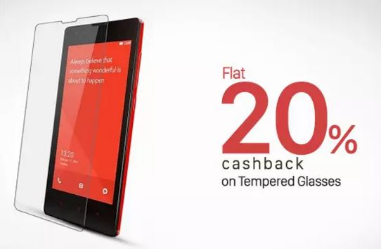 flat 20 percent cashback on tempered glasses shopping from paytm