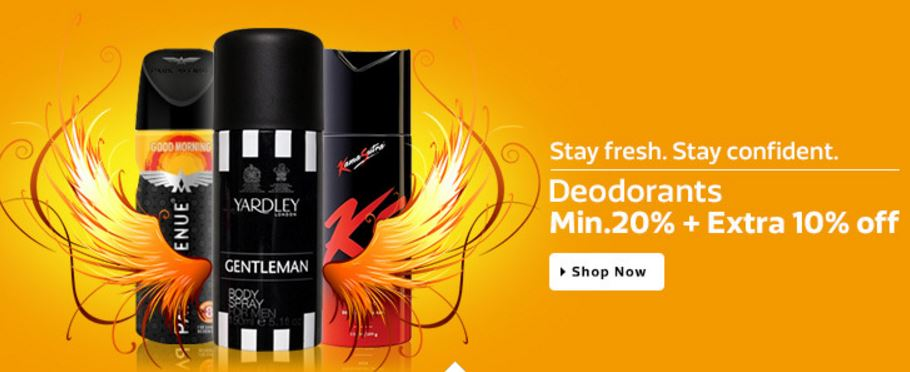 Deodorants at 20% discounted prices from flipkart