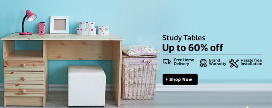 Flipkart offer : discounts upto 60% on the study tables online