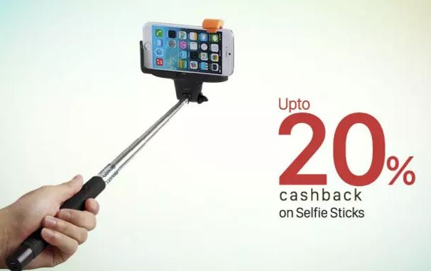 upto 20 cashback on selfie sticks shopping from paytm