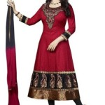 Divyaemporio Women'S Cotton Resham Anarkali Unstitched Salwar Suits Dress Material (Red_Free Size)