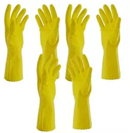 Primeway Rubberex Flocklined Rubber Hand Gloves, Medium, Set of 3 Pairs, Yellow