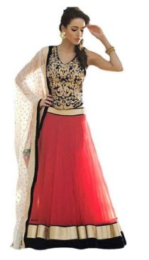 Designer Fancy Red Semistiched Lehanga With Blouse & Dupatt @ Just Rs 299