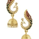 Voylla Peacock Inspired Pair Of Jhumki Earrings With Red Enamel Just @ Rs 85 from amazon india