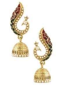 voylla-peacock-inspired-pair-of-jhumki-earrings-with-red-enamel