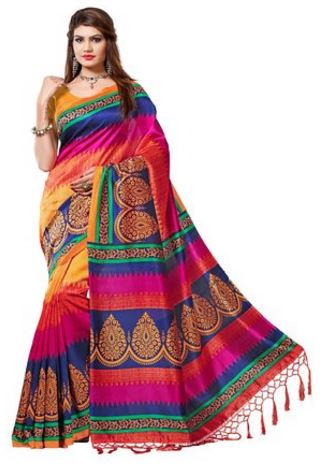 Women's Mysore Art Silk Saree with Blouse Piece