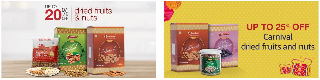 Amazon offers upto 25% discount on Nuts & Dry Fruits
