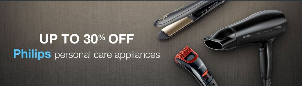 Upto 30% off on the Philips personal care appliances from Amazon india