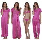 Miavii Women's 6 Piece Pink Nighty set(1 Nighty+ 1 Robe + 1 Top + 1 Bottom + 1 Bra + 1 Panty)
