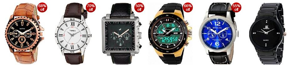 amazon offers great discounts upto 70% on the stylist men's watches on the best sellers