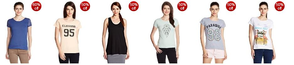 Women's t-shirts starting ₹199 and up to 60% OFF from Amazon india