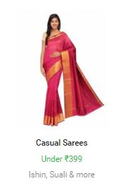 Buy Flipkart offer on Casual Sarees Price Below Rs 399