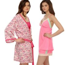 3 PC SET OF CAMISOLE, SHORTS AND ROBE