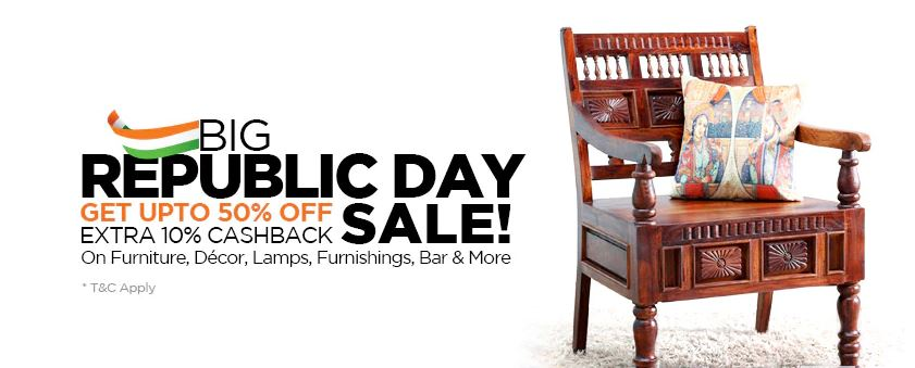 Big Republic Day Sale - PepperFry Get Upto 50% OFF and GEt Extra 10% Cashback