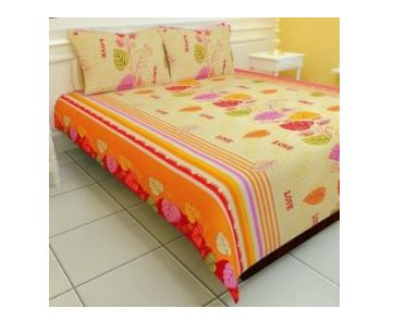 Carah Floral Double Bedsheet (1 Bedsheet, 2 Pillow Covers, Yellow)
