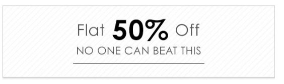 FLAT 50% OFF – Flat 50% Off On Biggest Range OF Products at Jabong