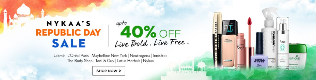 Upto 40% Off at Nykaa – Republic Day Sale. 19-26 Jan‎
