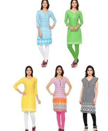 Combo Of 5 Thankar Printed Polycotton kurti @ Rs 999