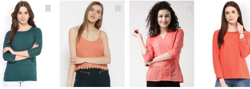 myntra tops, t-shirts offers