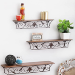 Artesia Antique Set of 3 Wooden Wall Shelf  (Number of Shelves – 3, Brown)  at just Rs 1169