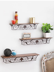 Artesia Antique Set of 3 Wooden Wall Shelf (Number of Shelves - 3, Brown)