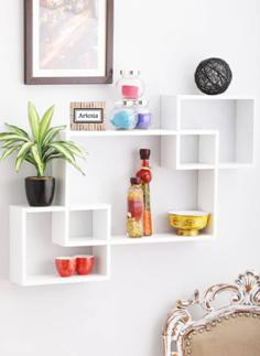 Artesia Inntersecting Wooden Wall Shelf (Number of Shelves - 3, White) on flipkart at just Rs 1169