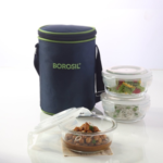 Borosil Klip N Store Microwavable Containers with Lunch Bag, 400ml, Set of 3 on amazon at just Rs 987