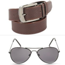 Calibro Men's Synthetic Leather Belt & Sunglasses Combo