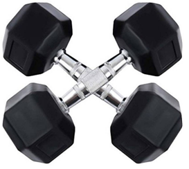 Credence 5kg X 2pcs Hexagonal Rubber Coated Fixed Weight Dumbbell (10 kg)