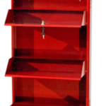 Delite Kom 20 Inches wide Three Door Powder Coated Wall Mounted Metallic Brick Red Metal Shoe Rack  (Red, 3 Shelves) on flipkart at only 3999