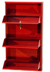 Delite Kom 20 Inches wide Three Door Powder Coated Wall Mounted Metallic Brick Red Metal Shoe Rack