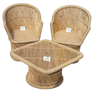 Ecowoodies Arbutus Handicraft Cane - Wooden Breakfast Kitchen Pub High Chair Table Chair Cane Furniture Set