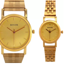 Flipkart is offering the beautiful gold-plated watch for couples worth Rs.1899 at Rs. 1341.