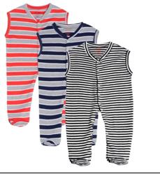 Gkidz Infants Pack Of 3 Striped Sleeveless Sleepsuits