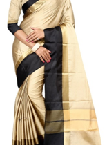Gorgeous Beige and Black Saree at a discount of 61%