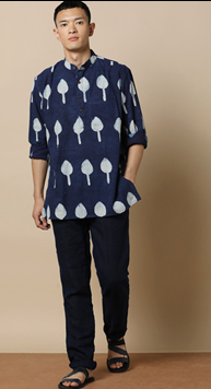 Hand block Print Super Short Kurta with Full Sleeves worth Rs.1499 only at Rs.824