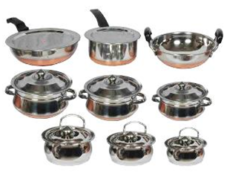 Klassic Vimal 11 Pcs Copper Bottom Set & 6 Pcs Induction Cook & Serve Set