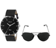 Arum Trendy Black Leather Watch With Black Sunglass  at just Rs 549
