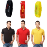Lime Offers Combo Of 3 Polo T shirts And 3 Band Watches now at just Rs 799 on voonik.com