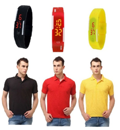 Lime Offers Combo Of 3 Polo T shirts And 3 Band Watches now at just Rs 799 on voonik