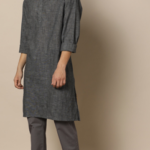 Linen Blend Short Kurta with Chinese Collar worth Rs.1399 only at Rs.824