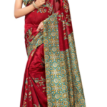 Maroon Art Silk Printed Saree with Blouse for Rs. 585 only at LimeRoad.
