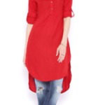 Red Rayon High Low Hemline Kurti offered at a throwaway price of Rs. 523