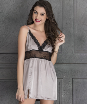SATIN BABYDOLL WITH LACE PANEL AT WAIST @ Rs 599 only