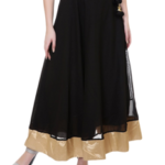 beautiful Black Georgette Flared Skirt cost you Rs. 1299 is now being offered at Rs. 449, only at LimeRoad