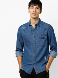 Slim fit denim shirt with flap pocket on ajio.com at only INR 1379